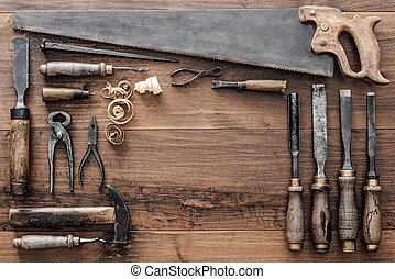 Collection of vintage woodworking tools - Frame composed of ...