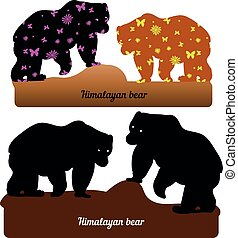 Collection of walking bear, silhouette and silhouette with pattern for design (brown and black), on a white background