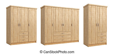 Collection of wardrobes for clothes isolated on a white background. 3d illustration