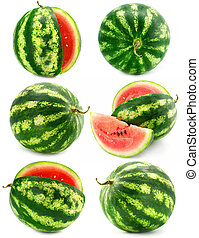 collection of water melon fruits isolated