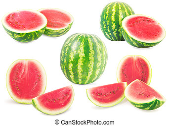 Collection of watermelons isolated on white