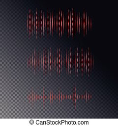 Collection of waveform. Vector illustration for club, radio, party, or the audio technology advertising background.