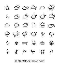 Collection of weather line icons on white background. Vector illustration.