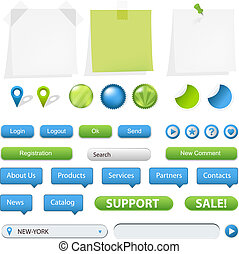 Collection Of Website And GPS Navigation Elements For Your Web Projects, Vector Illustration