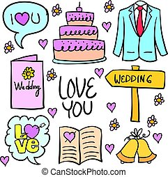 Collection of wedding stock in doodles