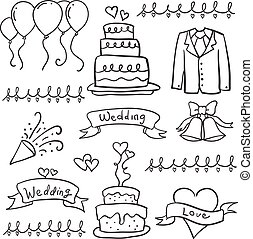 Collection of wedding style in doodles