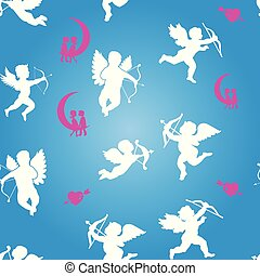 Collection of white angels silhouettes and hearts, seamless pattern on Valentine`s Day, on blue background,