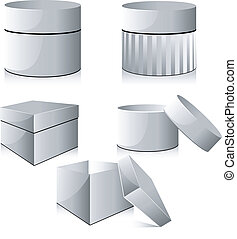 Collection of white boxes