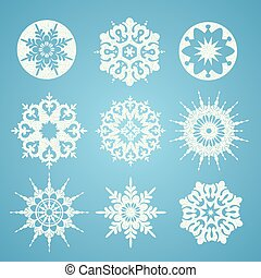 Collection of  white christmas snowflakes in different shape on blue background