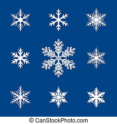 Collection of White Snowflakes on Blue Background. Vector Illustration