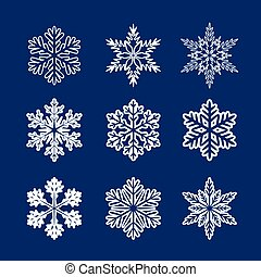 Collection of White Snowflakes. Vector Illustration