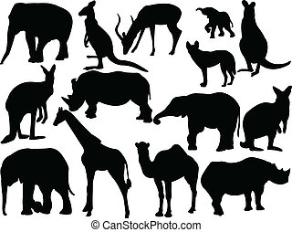 Collection of wild animals - vector
