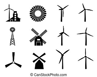 collection of windmill icons on white background