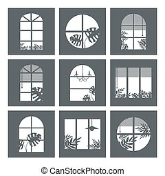 Collection of windows silhouette of various designs isolated. Window city at night. Vector illustration of apartment blocks with windows, in which the gap silhouettes of tropical and home plants and curtains.