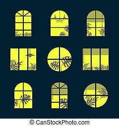 Collection of windows silhouette of various designs isolated. Windows light city at night. Vector illustration of apartment blocks with windows, in which the gap silhouettes of tropical and home plants and curtains.