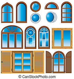 collection of windows - vector illustration of different ...