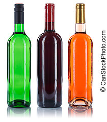 Collection of wine bottles red white rose isolated on white