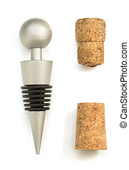 collection of wine cork on white