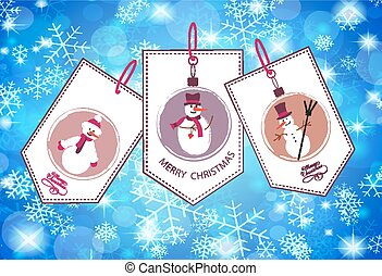 Collection of winter and Christmas labels