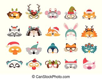 Collection of winter animal masks and Christmas photo booth ...
