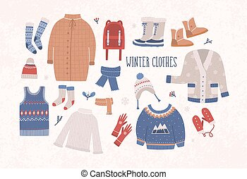 Collection of winter clothes and outerwear isolated on light...