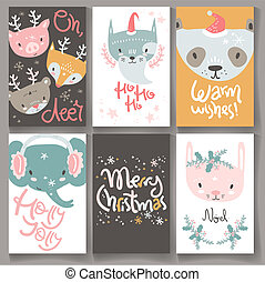 Collection of winter greeting cards with doodle hand drawn tiny