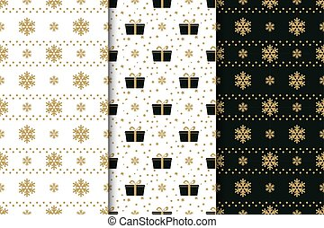 Collection of winter holidays seamless patterns with snowflakes, bows, gift boxes and stars. Golden, black and white background.