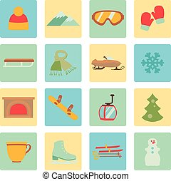 Collection of winter icons activities in flat design style
