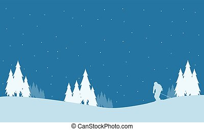 Collection of winter people playing ski Christmas