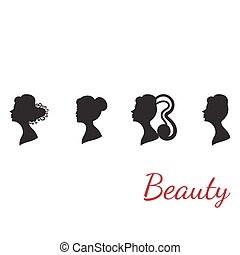 Collection of woman silhouettes from profile with different hair styles isolated on white.