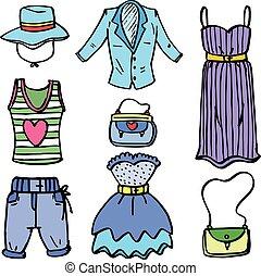 Collection of women clothes set doodles