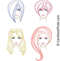Collection of women faces - Set of women faces for...