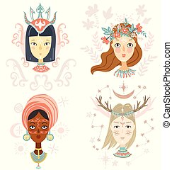 Collection of women portraits, mystical hairstyles and accessori