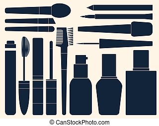Collection of womens cosmetics for your design. Silhouette. Vector