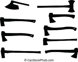 Collection of wood axe silhouette - vector