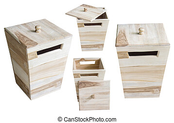 collection of wooden box isolated on white background.