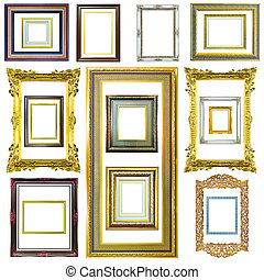 wooden photo image frame isolated