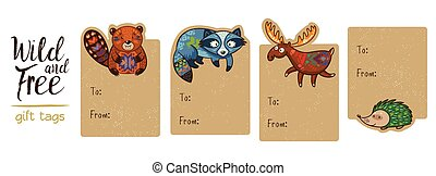 Collection of woodland gift tags