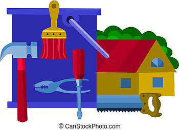 collection of work tools, vector illustration -1