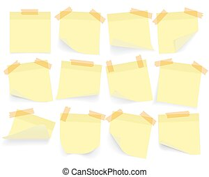 Collection of yellow colored sheets of note papers with curled corner and shadow, ready for your message. Realistic. Isolated on white background. Set. Vector illustration