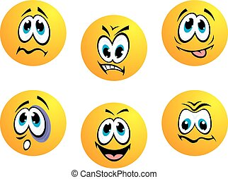 Collection of yellow emoticons showing a range of...