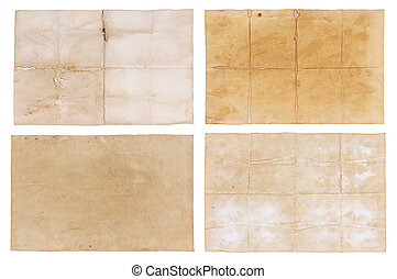 collection old paper isolated on white background