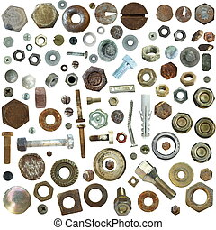 collection old rusty Screw heads, bolts, steel nuts,old...
