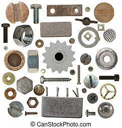 collection old screw heads, gears, old meta, bolts, steel ...