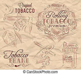 Collection on tobacco and smoking a pack of cigarettes vintage tobacco leaves hands with a cigarette on crumpled paper in brown