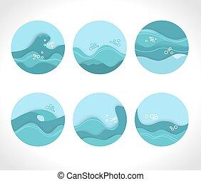 collection, ondulé, bleu, eclabousse, eau, vagues, symboles
