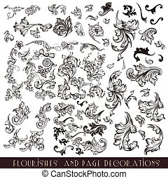 Collection or mega set of vector decorative flourishes for...