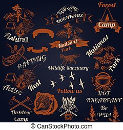 Collection outdoor camping and mountains typography labels design