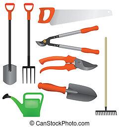 collection, outils, jardinage, vecteur