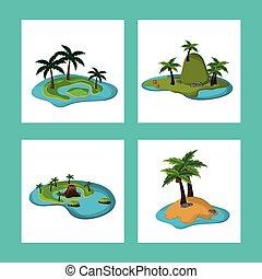 collection paradisiac island tropical caribbean vector...